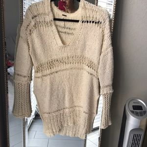 Free People Crocheted Off-White Sweater